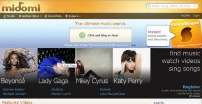 Программа распознавания музыки онлайн через микрофон Midomi.