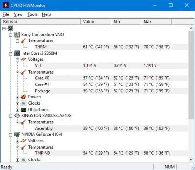 Утилита HWMonitor для определения температуры компьютера