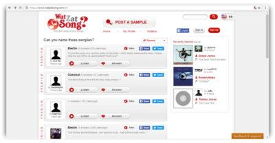 Програма розпізнавання музики онлайн через мікрофон WatZatSong