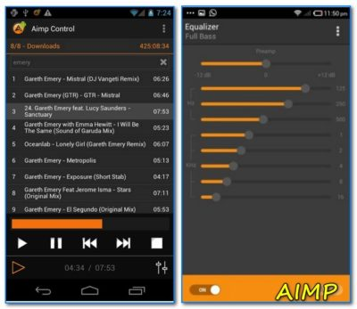 Музыкальный плеер на Андроид AIMP