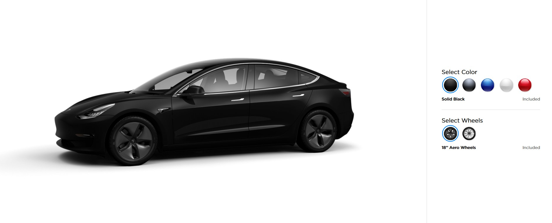 Вариации цветов автомобиля Tesla Model 3