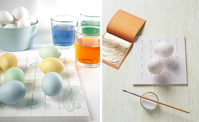 Декор пасхальных яиц-сусальное золото