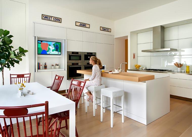 Где разместить ТВ на кухне