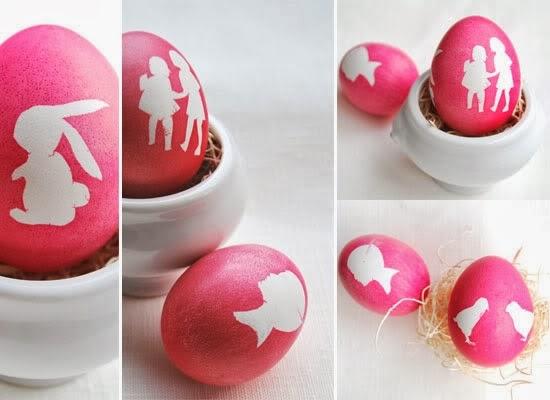 Окрашивание пасхальных яиц-трафаретное силуэты
