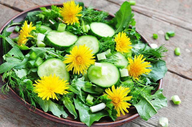 Салат с одуванчиками-подача