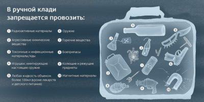 Запрещённые вещи для ручной клади в самолёт