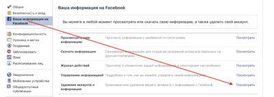 Удаление аккаунта с Фейсбука навсегда