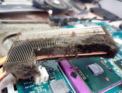 Очень пыльный радиатор ноутбука