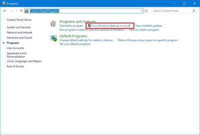 «Включення або відключення компонентів Windows»