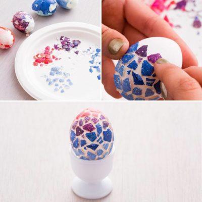 Біле яйце з кольоровою мозаїкою