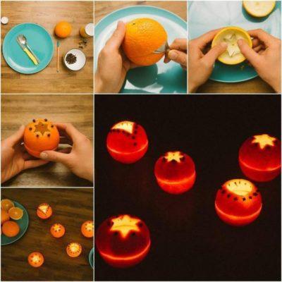 Свічники з апельсинів-як зробити