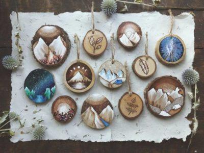 Дерев'яні ялинкові прикраси-розпис