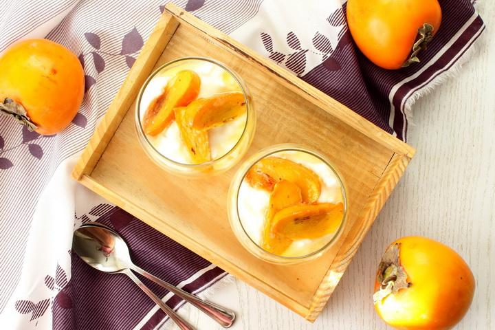 Творожный десерт-с хурмой