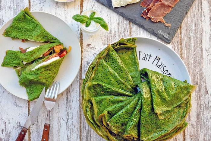 Зеленые шпинатные блины-рецепт