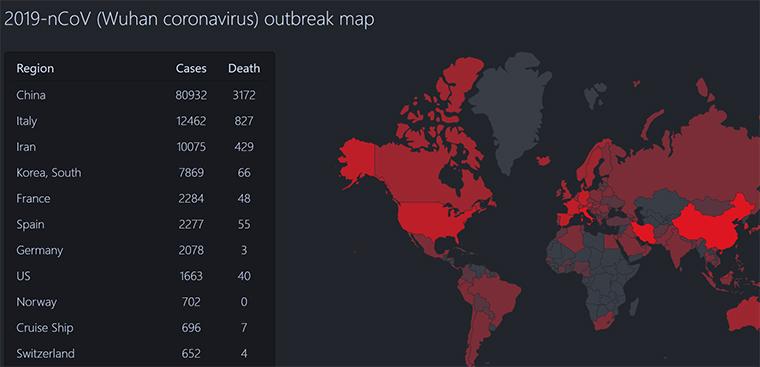 Карта коронавируса скрин