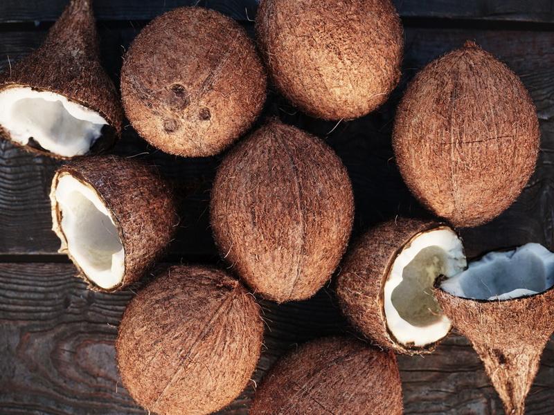 Кокосовые орехи-крупный план