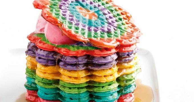 Rainbow waffle-рецепт