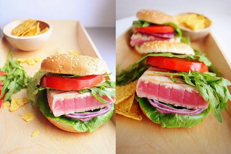 Бургер с тунцом-белок