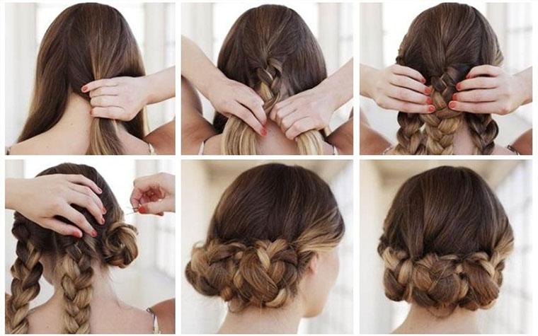 Укладка-корзинка на средние волосы