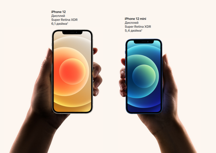 iPhone 12-iPhone 12 mini сравнение экранов