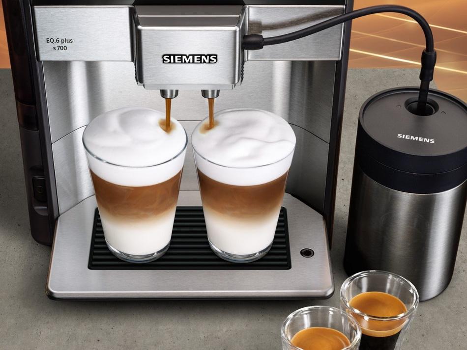Кофемашина Siemens TE653M11RW-одновременное приготовление двух напитков