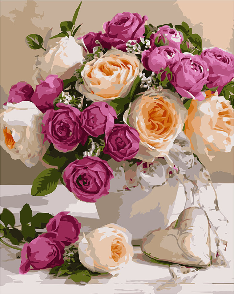 Картина за номерами «Букет різних троянд»
