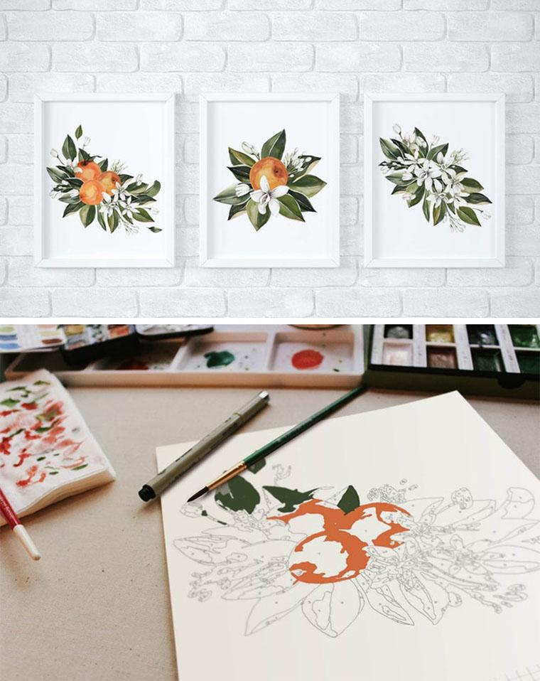 Триптих апельсины