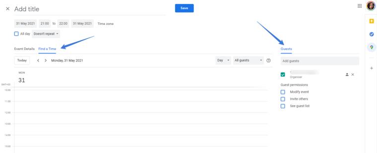 В Google Календаре организован поиск временных слотов