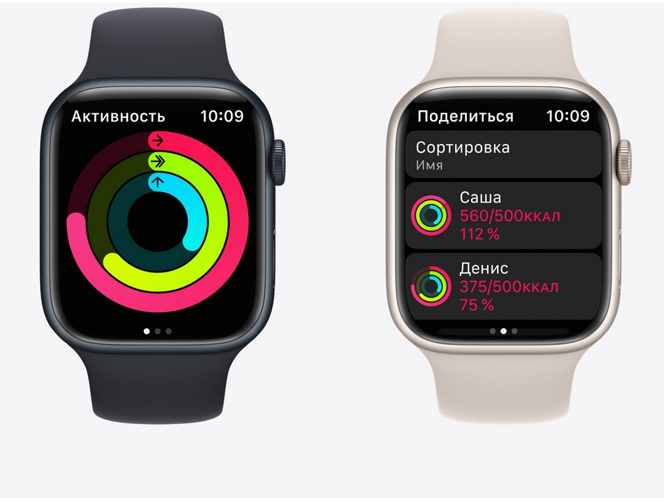 Apple Watch Series 7-кольца активности.